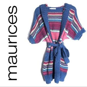Maurices Colorful Knit Hooded Tie Cardigan Sweater